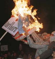 Burning the American flag in Damascus