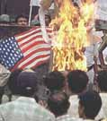 Burning U.S. flag in India