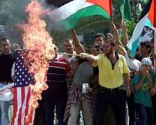 Burning the American flag in Gaza