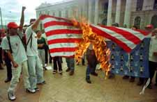 Burning U.S. flag in San Salvador