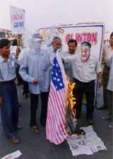 Burning the US flag in india