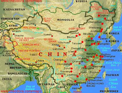 Topographical Map Of China. varied topography maps for