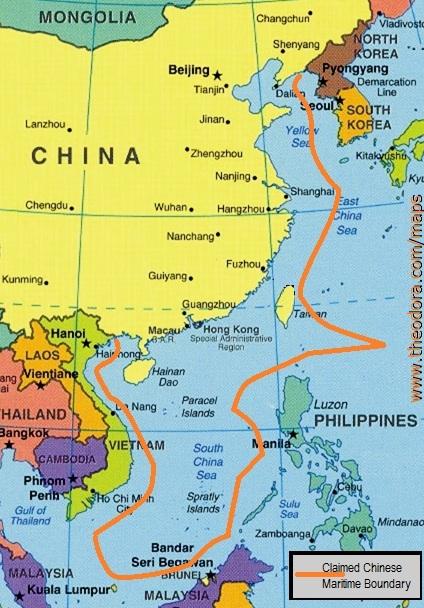 China's claimed maritime border