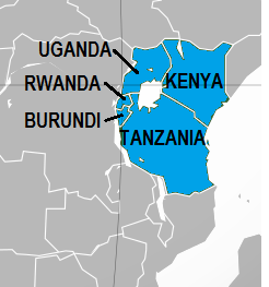 Map of member countries of East African Community
