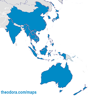 Map of participating countries in East Asia Summit