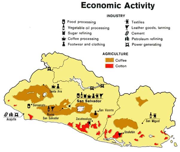 Maps Of El Salvador Salvadoran Flags Maps Economy Geography - Us economic activity map