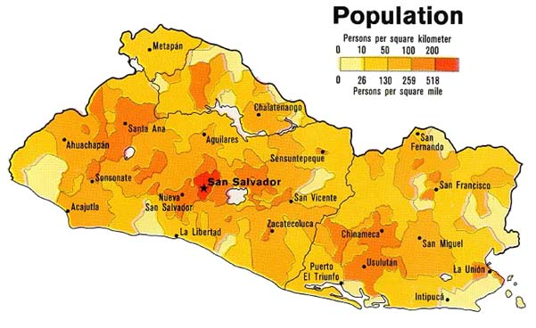 El Salvador Population Density Map