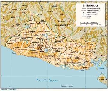 El Salvador Physical Relief Map