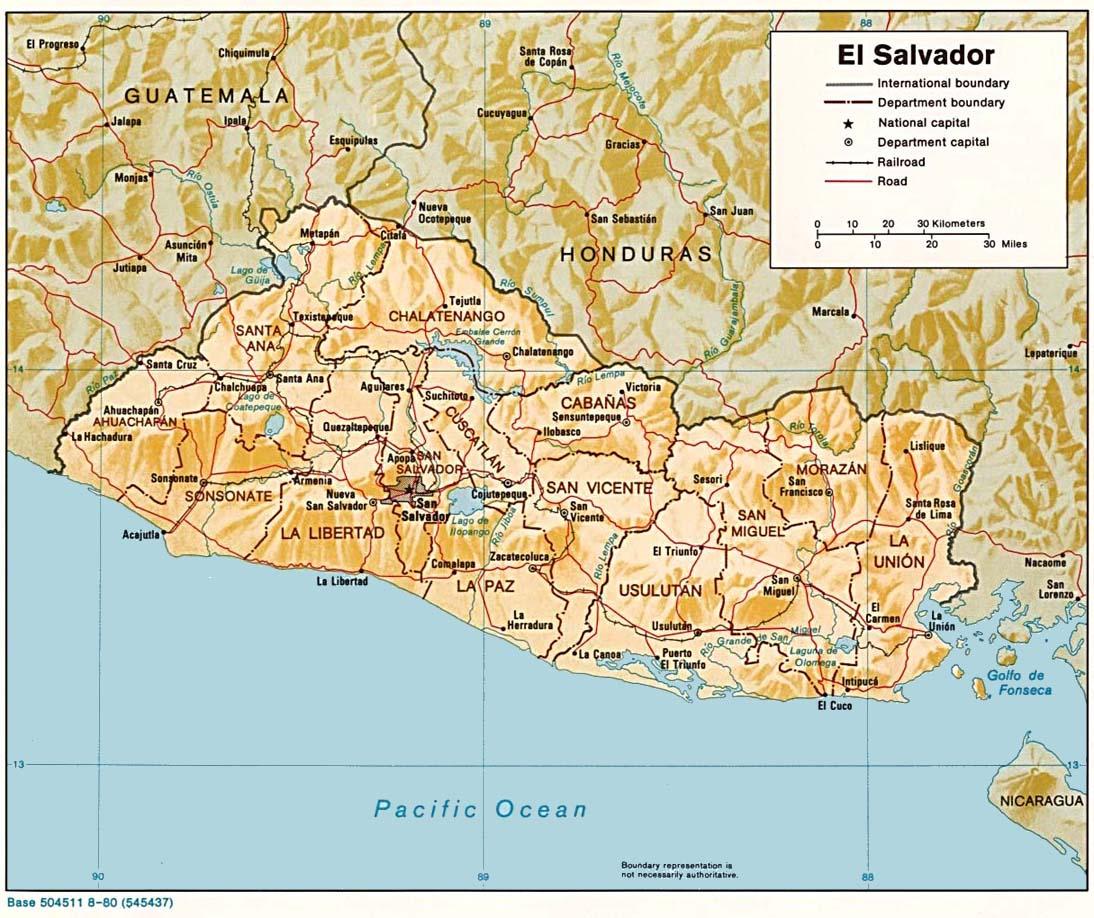 Maps of El Salvador Salvadoran Flags Maps Economy Geography