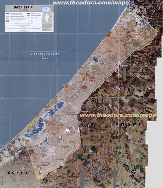 Detailed anotated aerial photographic montage map of Gaza Strip