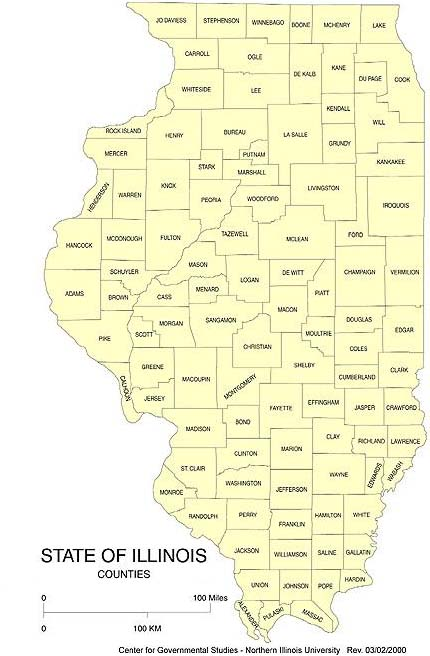 Illinois is bordered by Lake Michigan and Indiana, Kentucky across the Ohio