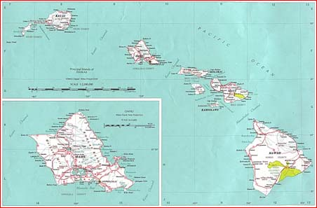 Principal Hawaiian Islands Map
