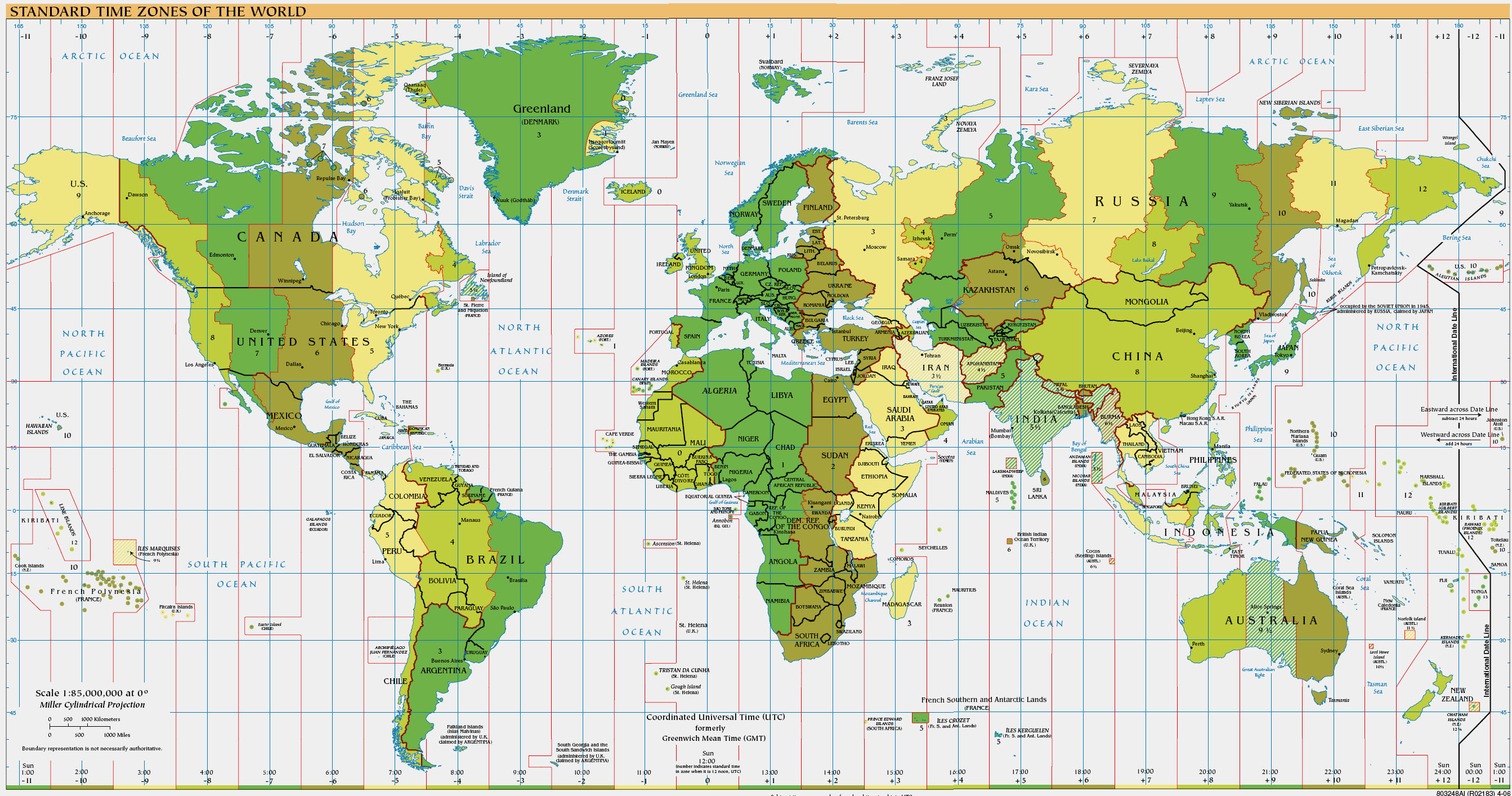 Larger version of time zone map 1 2mb