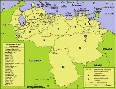 Venezuela Administrative Divisions Map