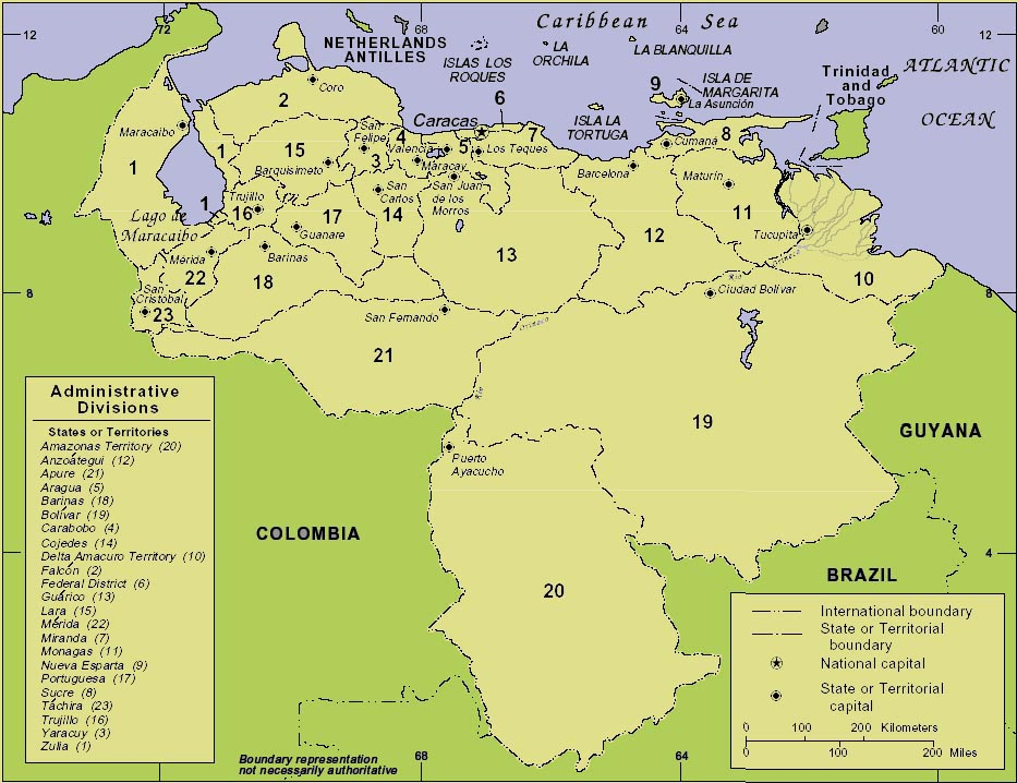 Map Of Venezuela. map of Venezuela showing