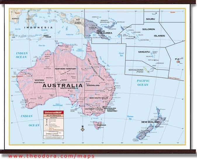 "Deluxe Laminated Wall Map of Australia and Oceania 54"" x 42"" (137cm x 107cm)"