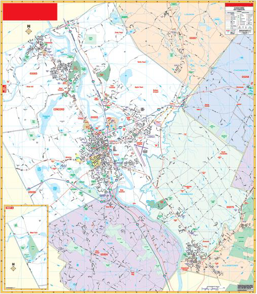 Deluxe Laminated Wall Map Of Concord New Hampshire 54quotx66