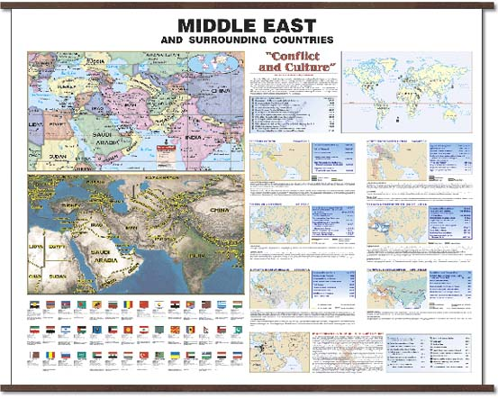 "Deluxe Laminated Wall Map of the Middle East 64""x46"" (=1.6mx1.2m ... Middle East Wall Maps"