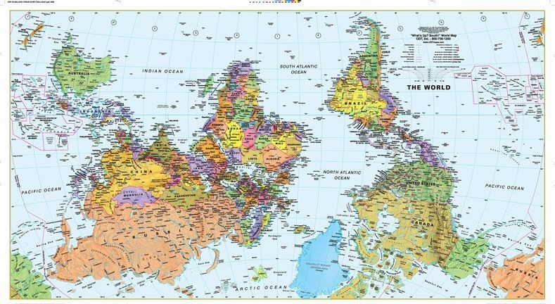 Deluxe Laminated Wall Map Of The World South At The Top 64