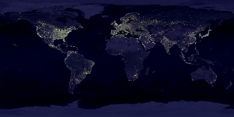 Click here to see a full size image of City Lights Space World Map