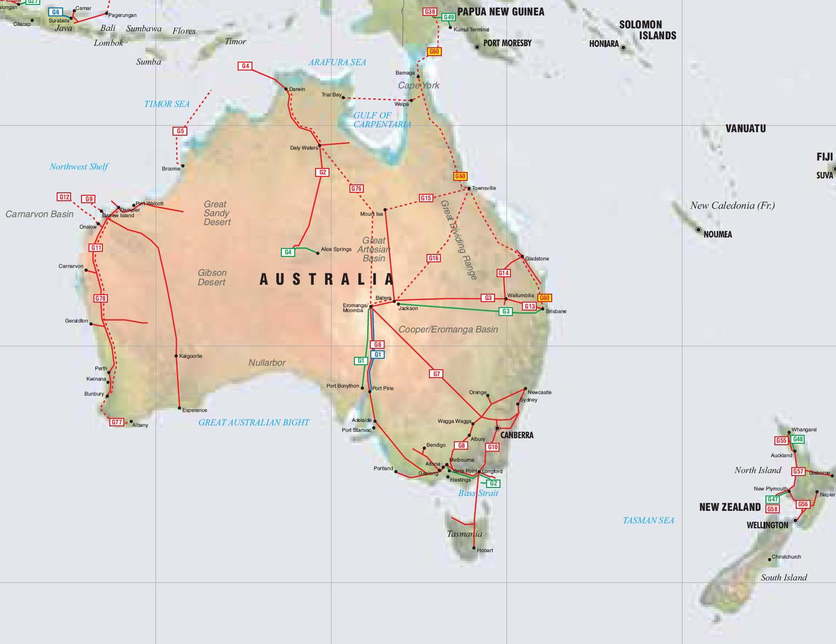 Australia New Zealand and Papua New Guinea Pipelines map Crude Oil petrol