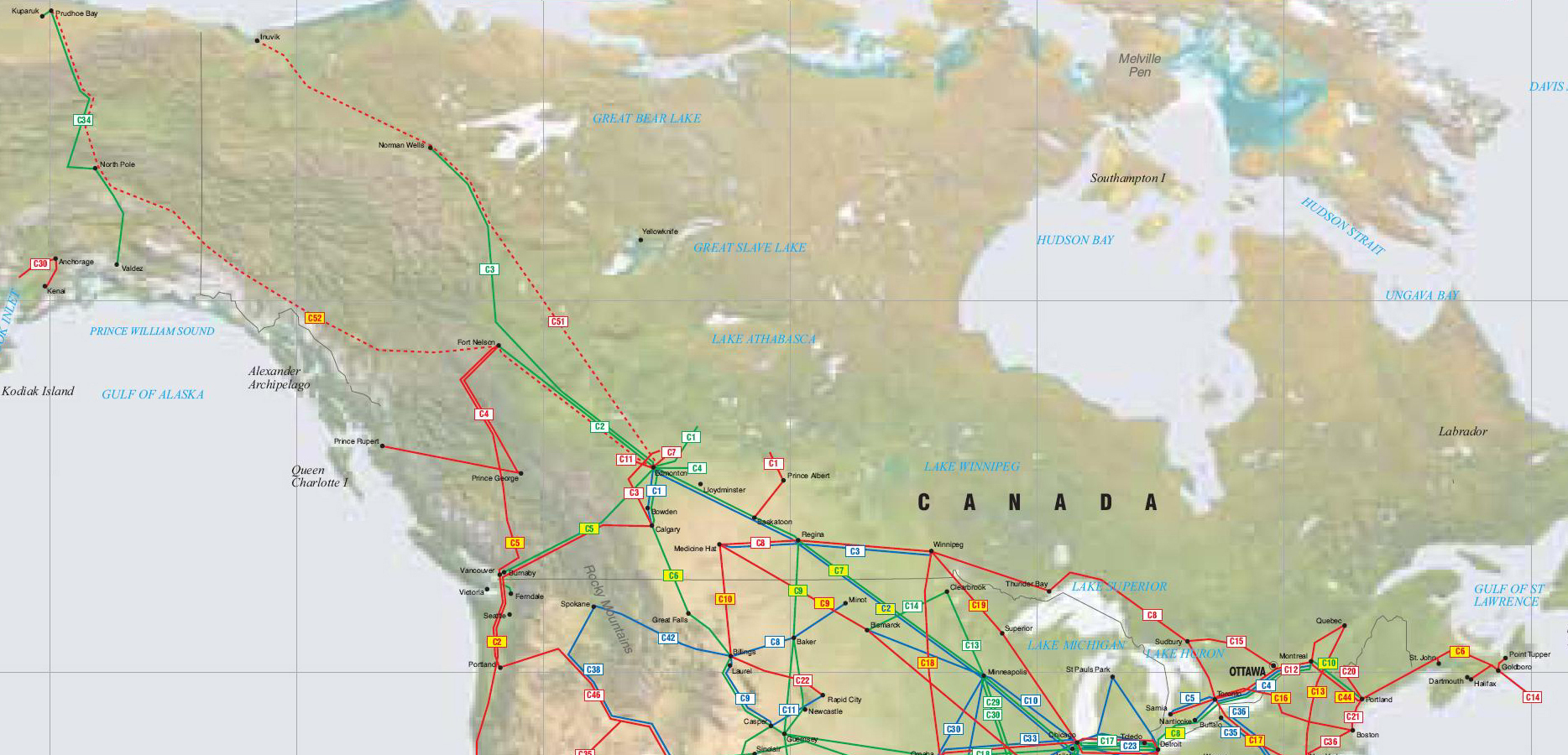 Canada and Alaska Pipelines map Crude Oil petroleum pipelines – Map It Canada