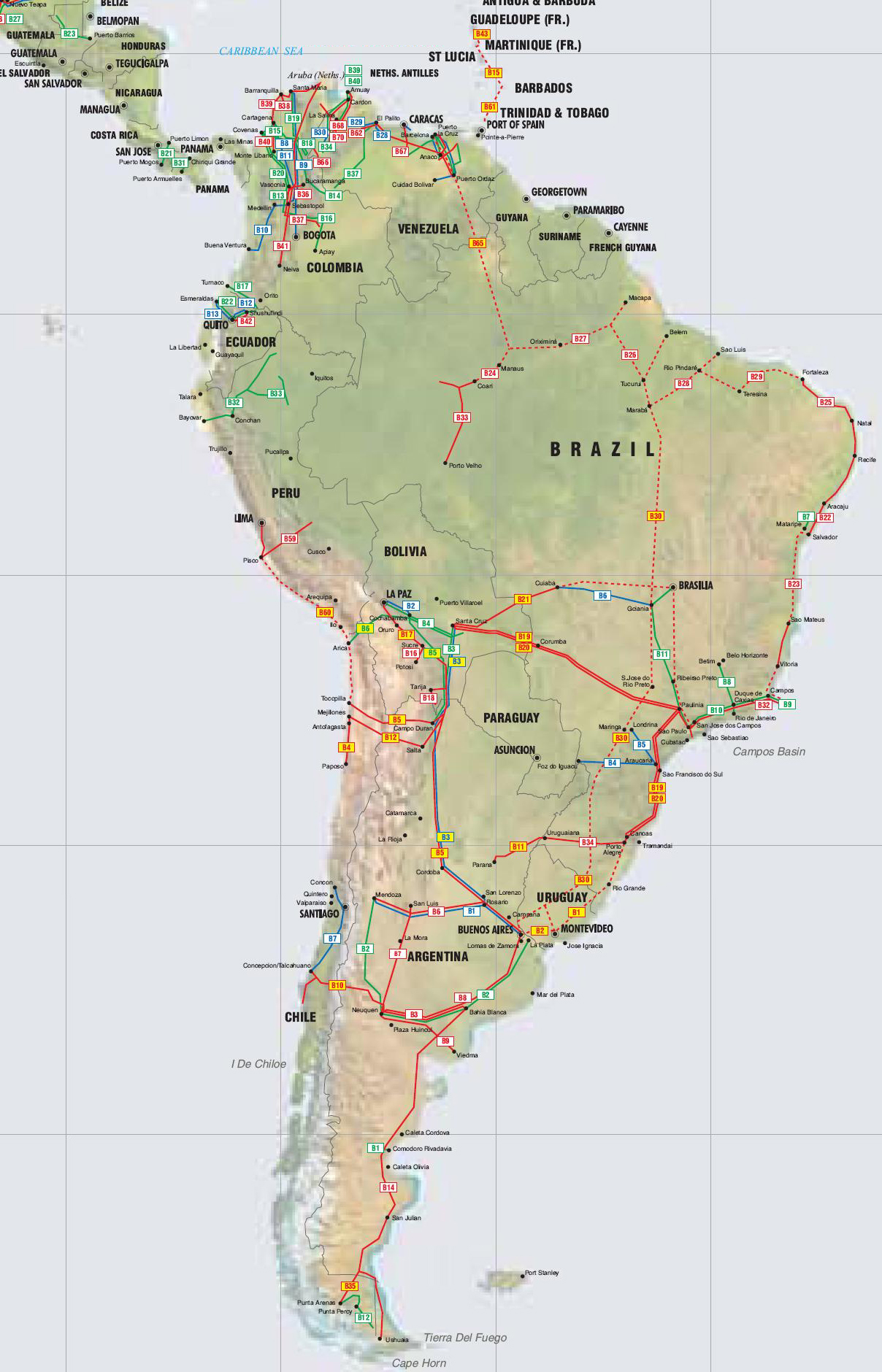Map of South America Labeled in Spanish images
