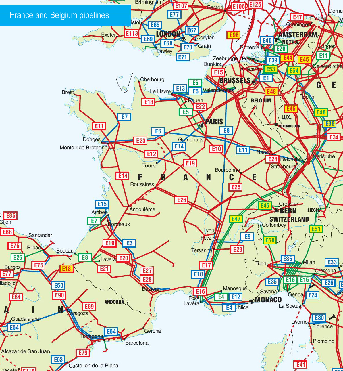 France and Belgium Pipelines map Crude Oil petroleum pipelines – Map of France and Belgium