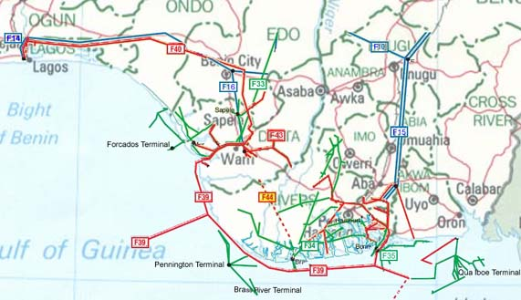 Maps of nigeria flags maps economy geography climate natural click for a nigeria map of oil gas and products pipelines with legend ccuart Choice Image