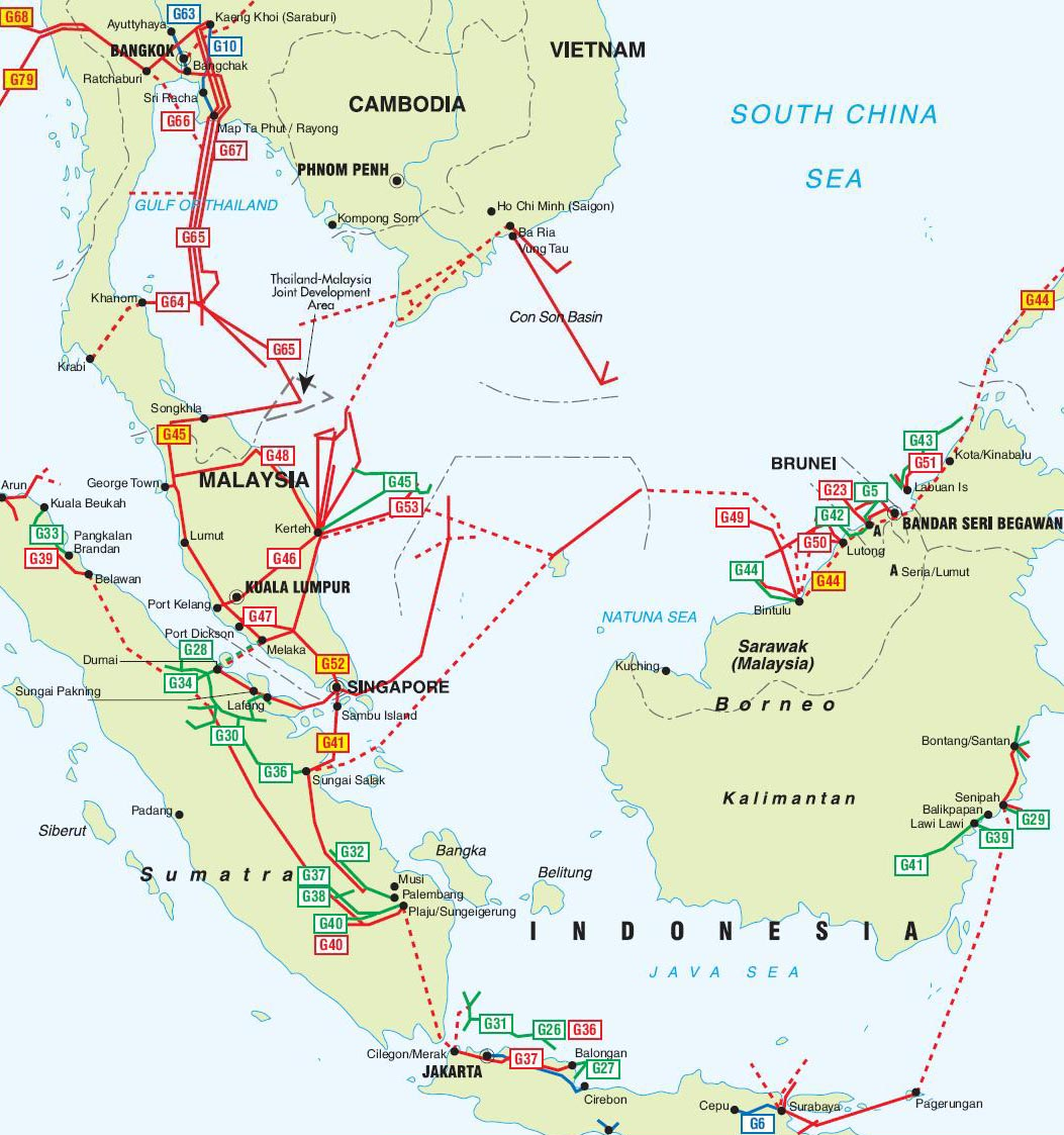 The pipeline routes on the map  Labeled Map Of Asia