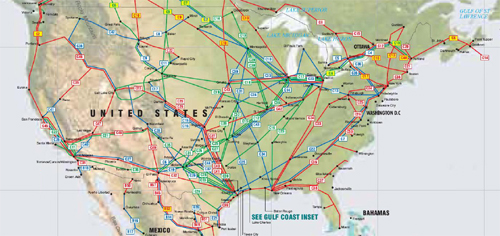 United States oil, gas and products pipelines map - Click on map to enlarge