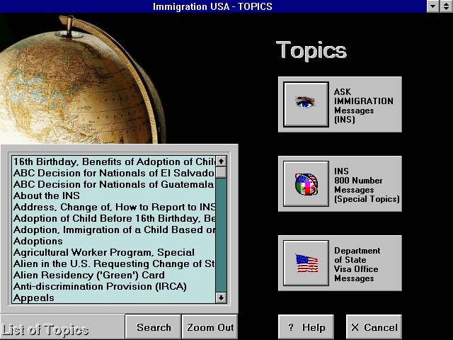 Immigration Assistant Topics Menu Screen