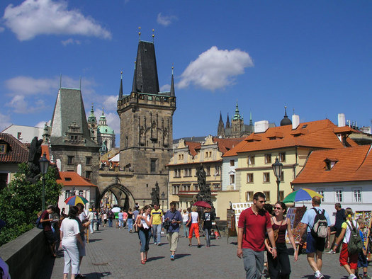 Lesser town bridge towers, Prague, Czech Republic Photo