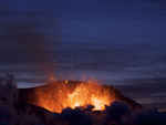 Eyjafjallajokull Glacier Volcano erupting on 27 March 2010, Iceland photo