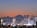 Mount Fuji seen behind the Tokyo skyline, Japan photo