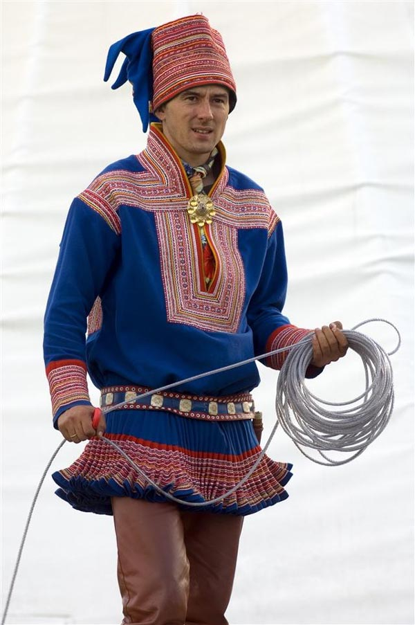 Man in Sami Norwegian national costume, Finnmark, North Norway photo