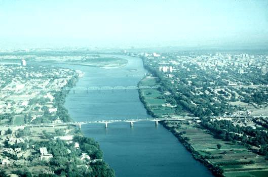 khartoum from the air blue nile